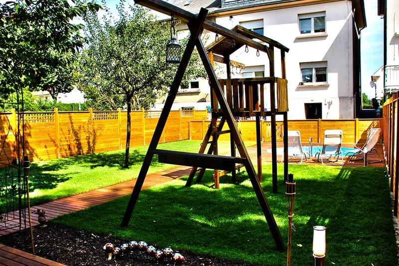 Engazonnement jardin + aménagement de jardin au Luxembourg